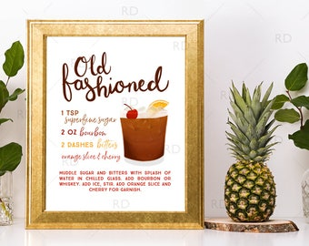 Old Fashioned  Cocktail with Recipe - PRINTABLE Wall Art / Cocktails Mixed Drinks Wall Art / Hand Drawn Cocktails / Cocktail Print