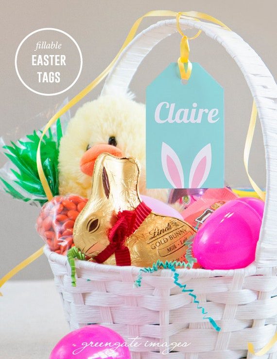 easter basket name tags easter gift tag editable fillable