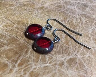 red czech glass earrings bohemian everyday earrings earrings silver earrings valentine gift earrings dangle earrings round red earrings