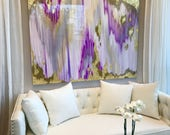 """Acrylic Abstract Art Large Canvas Painting Gray, Silver, Gold Ikat Ombre Glitter with Glass and Resin Coat 48"""" x 60"""" real gold leaf"""