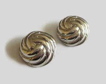Silver Dome Earrings, Vintage, Coiled Rope or Knot Design, Clips, Substantial!