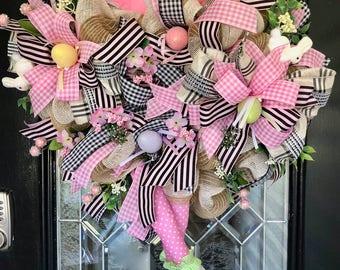 Easter Wreath, Bunny Wreath, Easter Decoration, Front door wreath, Spring Wreath, Deco Mesh Wreath, Wreath for Door, Door Hanger