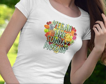 Vegan Like Sunday Morning T-Shirt Ladies Mens Unique Design Fruits Vegetables Veggies Gift Fresh Trendy Cute Heart Love Animal Rights