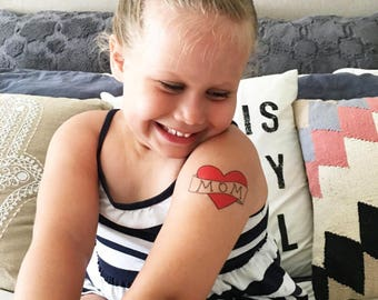 mom heart tattoo valentines day gift for mom from daughter kids fake tattoo red heart tattoo for babies photography prop temporary tattoo