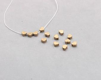 100Pcs, 5mm Raw Brass Heart Beads , Hole Size 1mm , SJP-A218