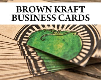 Brown Kraft Business Cards - Made to Order - Recycled, Eco-friendly, 18 Point Business Cards -  Professionally Printed - FREE SHIPPING