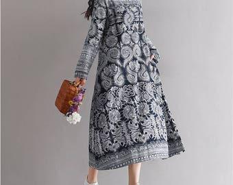 Women Long Dress Long Sleeve Floral Print Tunic Dress