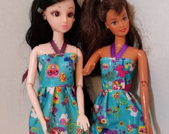 "B 072 Handmade Aqua Flannel Fun Print Sundress for Barbie and other 11 1/2"" and 12"" fashion dolls"