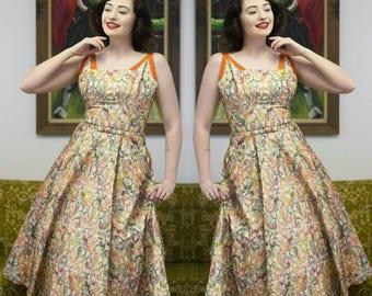 "50s Paisley Dress | 50s Embroidered Dress | 50s Dress | 50s Full Skirt | Shelf Bust Dress | New Look | 50s Sundress | 26"" - 27"" Waist"