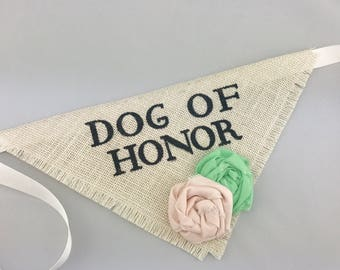 Dog of Honor Ivory with Blush Pink and Mint Flowers Pet Wedding Bandana Engagement Photos Save the Date Cards