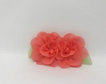 Small Coral Pink Wedding Dog Collar Flower Crown Wreath Cat Collar Flower Girl Dog