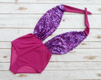 Swimsuit High Waisted One Piece Vintage Style - Purple Pink Mermaid Sequin Glitter Retro Pin-up Bathing Suit Swimwear - Vegas Bachelorette