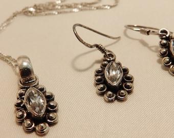 925 Sterling Silver Clear Zirconia Jewelry Set