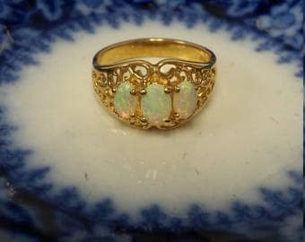 Size 6 Estate 14k Yellow Gold Natural 1ct Opal Oval Ring Pinky Anniversary Birthday GS1541