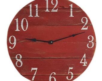 Red Clock- Farmhouse Clock- Reclaimed Clock- Small Wood clock-Wall Clock-Rustic Clock -Number Clock-Pallet Clock- Round Clock
