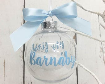 My first Christmas | Bauble | 1st Xmas | Clear | Snowflakes | Tree | Ornament | Decoration | Personalised | New Baby | Gift | Date | Name