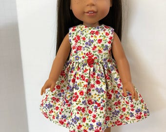 "Wellie Wishers Like 14.5 inch Doll Clothes, Pretty ""Bouquet of FLOWERS"" Dress, 14.5"" Dolls like AG Wellie Wishers Doll Clothes, Classic!"