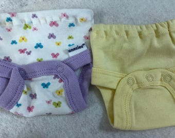Baby Doll Diaper Covers, Panty, 15 inch AG Bitty Baby Clothes/Twin, Fits 16 inch Cabbage Patch Doll, SET of 2 for 3.00, BUTTERFLIES & Yellow