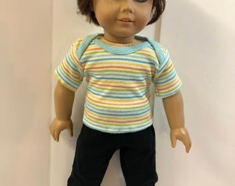 "18 inch BOY Doll Clothes, Cute ""Blue/Green/Yellow/Orange"" Striped Top, Black Pants, 2-Piece Outfit, 18  inch Ag American Boy Doll Clothes"