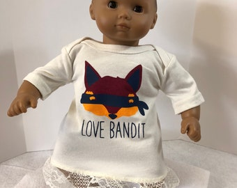 "15 inch Bitty Baby Clothes, Super Cute ""LOVE BANDIT"" Dress, 15 inch American Doll Bitty Baby or Twin Doll, I love Zoo ANIMALS!"