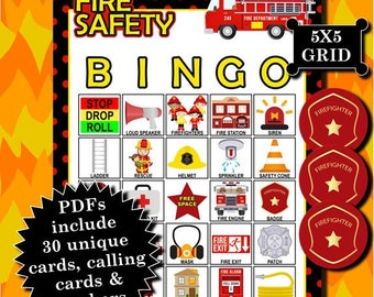 Fire Safety 5x5 Bingo printable PDFs contain everything you need to play Bingo.