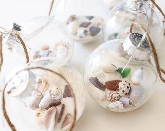 Around the World Shell Ornament, Medium Glass Bulb