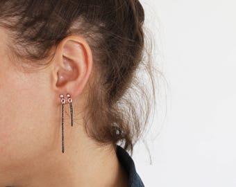 Chain Drop Earrings, Silver Dangle Earrings, Mismatched Earrings, Asymmetrical Earrings, Mix and Match Earrings