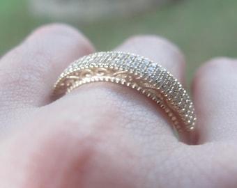 Diamond Wedding Band, Open Scrollwork Diamond Band, Filigree Diamond Ring, Filigree Wedding Band, Diamond Wedding Ring, Vintage Style Ring