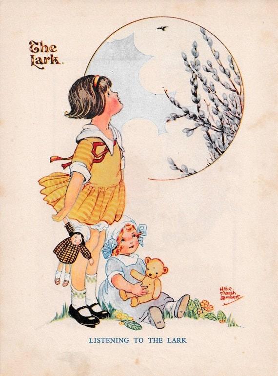 "Children's book illustration by H.G.C. Marsh Lambert, ""Listening to the Lark"", published 1950s, book print"