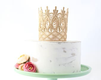 Cake Topper Princess Lace Crown - Emma Gold or Silver - Cake Topper - Photography Prop - Cake Smash - Mini - Birthday - Centerpiece