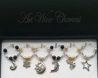 6 Moon, Stars, Themed Wine Charms, Sun, Moon, Wine Charms, Celestial, Universe, Themed Party, Party Favors, Thank You, Gift, Astronomy