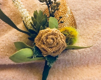 Corsage for Woman or Boutonniere for Groom--Wedding Flowers--Burlap Flower Corsage---Corsage Flowers--Wedding Essentials--Pin on Boutonniere