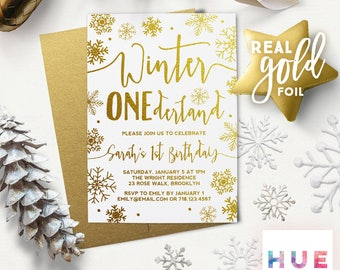 winter ONEderland 1st birthday invitations | REAL GOLD FOIL | white & gold snowflakes first birthday | boy or girl | gold envelopes