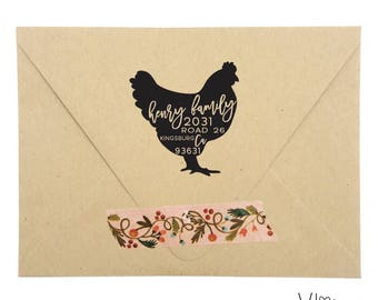 return address stamp - no. 1 - custom rubber stamp - hand illustrated chicken silhouette - personalized - farm stamp - homestead stationery