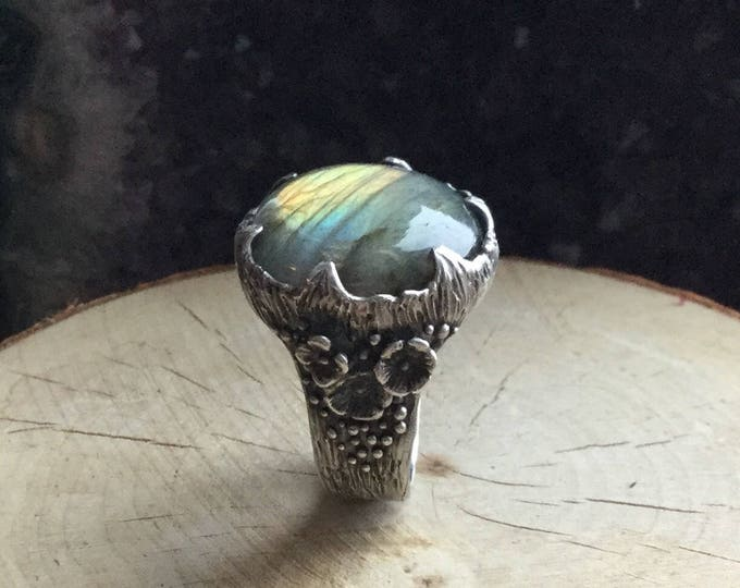 Featured listing image: Persephone's Garden sterling silver handmade ring with round labradorite, US ring size 8
