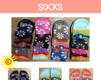 2018 Mutual Theme Socks - PEACE, flower design 2018 young women