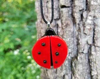 Lucky Ladybug Fused Glass Pendant