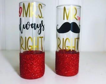 Mr and Mrs Shot Glasses/ Wedding Shot Glasses/ Bridal Shower Gift/ Newly Weds