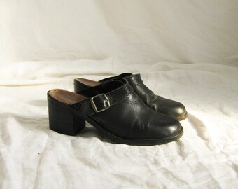 90s Black Leather Mules 8 39