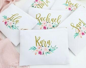Set of 6 Watercolor Floral Cosmetic Bag - Personalized Bags, Monogram Makeup Bag, Custom Cosmetic Bag, Personalized toiletry bag, pencil bag