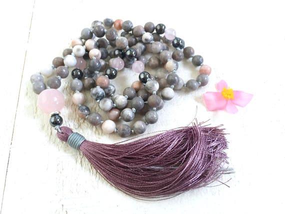 Jasper Mala Beads, Purple Tassel Mala, Pink Zebra Jasper Mala Necklace, Gemstone Mala, Silk Tassel Mala, Gemstone Knotted Mala Necklace