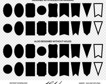 Pennant Digital Cut Files - Digital Files - Pennant SVG - Pennant DXF - Pennant EPS - Pennant png - Banner svg - Tag svg - Badge svg  Vector
