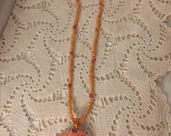 Tangerine sea shell beaded necklace
