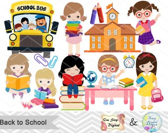Instant Download Back to School Clip Art, School Day Clipart Girls Back to School Clipart Girls School Day Clipart School Girl Clip Art 0242