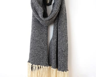 Stupidly Chunky Oversized Knitted Unisex Scarf - Wool and Acrylic in mottled grey.