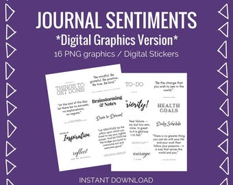Bullet Journal Download: Titles, Sentiments, and Inspirational Quotes -  PNG Graphics /Digital Stickers