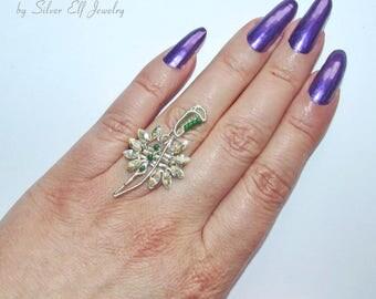 Elven Lord ring, sword ring, Elven Sword, Elven Wedding, unisex ring, adjustable ring, wire ring, swarovski ring, elvish jewelry
