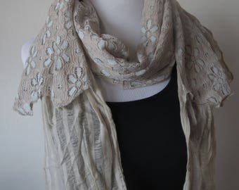 Floral Lace Scarf with crochet lace tassels