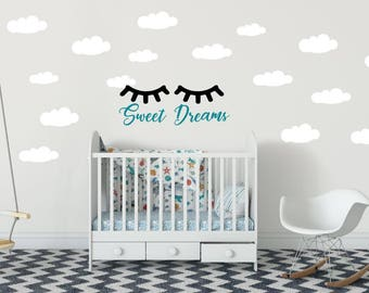 Sweet Dreams Wall Decal - Sleepy Eyes Wall Decal - Baby Nursery Wall Decal - Cloud Wall Decals - Sweet Dreams with Eyelashes and Clouds