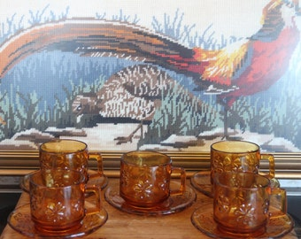 Vintage French Vereco 1970's Daisy Amber  Glass Tea setting